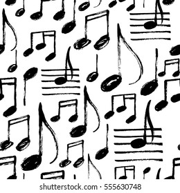 Vector seamless pattern with hand drawn music notes.