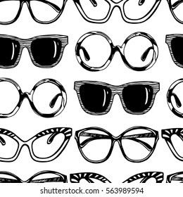 Vector seamless pattern with hand drawn sunglasses. Beautiful design elements, perfect for prints and pattern.