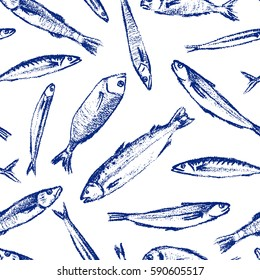 Vector seamless pattern with hand drawn fish species made with chalk. Grunge drawing, graphic style. Perfect print for any business related to the food industry.