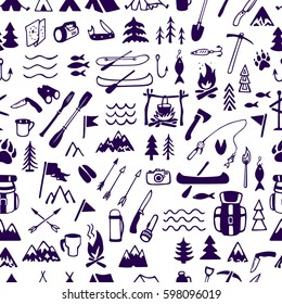 Vector seamless pattern with hand drawn camping and adventure design elements. Beautiful ink drawing, perfect for prints and patterns.