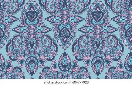 Mehndi Patterns Vector : Vector seamless pattern hand drawn henna stock