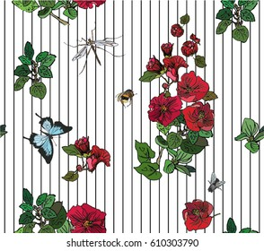 Vector Seamless Pattern Hand Drawn Artwork Isolated Red Flowers and Insects with Line Doodles on Stripes