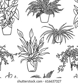 Vector seamless pattern with hand drawn houseplants. Beautiful floral design elements, perfect for prints and patterns