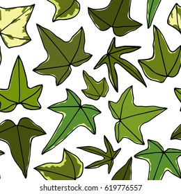 Vector seamless pattern with hand drawn english ivy leaves. Beautiful floral design elements, perfect for prints and patterns.