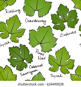 Vector seamless pattern with hand drawn wine grape leaves.  Beautiful floral design elements, perfect for prints and patterns