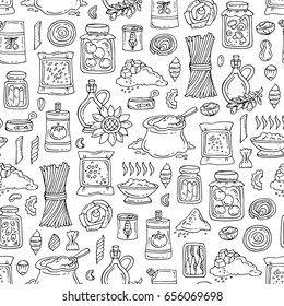 Vector seamless pattern with hand drawn food. Pattern on the theme of grocery on white color. Background for use in design