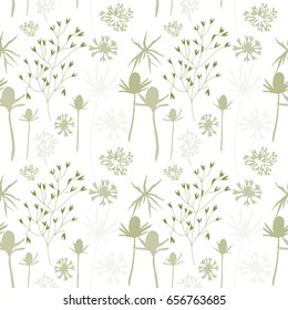 Vector seamless pattern with hand drawn floral elements - thistles flowers , stylized cornflowers  and grasses.