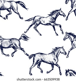 Vector seamless pattern with hand drawn running thoroughbred horses. Beautiful design elements, charcoal drawing