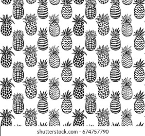Vector seamless pattern with hand drawn graphic sketch pineapple fruits. Black and white endless vector background.
