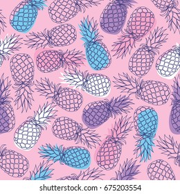 Vector seamless pattern with hand drawn pineapple fruits on pink background. Vector illustration is perfect for fabric, textile, wrapping paper and other decoration design.