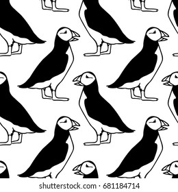 Vector seamless pattern with hand drawn cute atlantic puffins on white background. Funny puffin character, beautiful design elements.