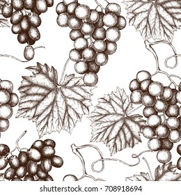 Vector seamless pattern with hand drawn grapes. Hand drawn illustration. Engraved fruit background. Vintage design.