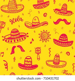 Vector seamless pattern with hand drawn doodle Mexican sombreros. Independence day, Cinco de mayo celebration, party decorations for your design.