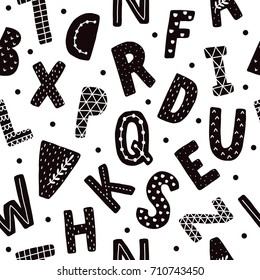 Vector seamless pattern with hand drawn alphabet. Black and white abc, scandinavian style
