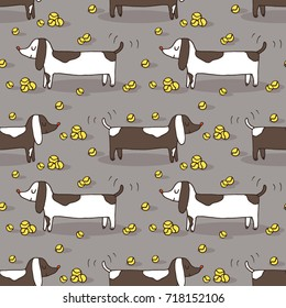 Vector seamless pattern with hand drawn dachshund dog silhouette