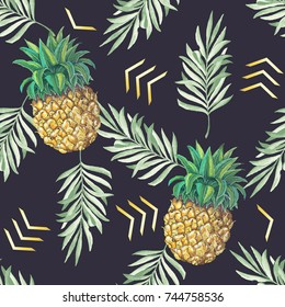Vector seamless pattern with hand drawn pine apple and palm tree leaves illustration