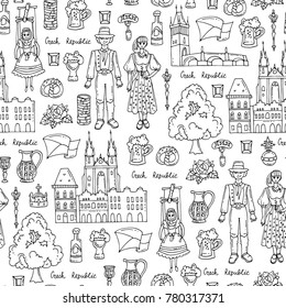 Vector seamless pattern with hand drawn symbols of Czech Republic on white color. Pattern on the theme of travel and tourism. Background for use in design