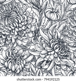 Vector seamless pattern with hand drawn chrysanthemum flowers on white background