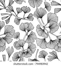 Vector seamless pattern with hand drawn Ginkgo biloba leaves. Ink drawing, graphic style, logo template