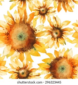 Vector seamless pattern with hand paint watercolor sunflowers.