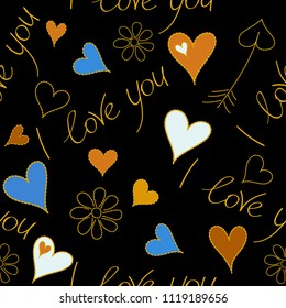 Vector seamless pattern hand painted concept with hearts, chamomile flower and love label in yellow, orange and black colors. Metaphor to Valentines day, romantic, art feeling.