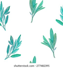Vector seamless pattern with hand painted watercolor sage branches. Beautiful design elements.