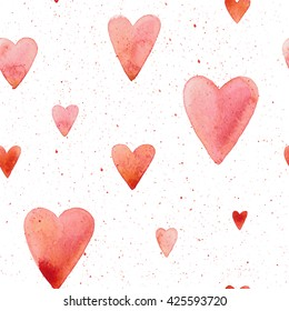Vector seamless pattern with hand painted watercolor hearts on white background. Perfect for romantic occasions such as Valentine's day.
