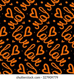 Vector seamless pattern with hand written words love and hand drawn hearts. Simple elegant, romantic background for Valentine day, Mothers day and other family events.  Bold print in black and red