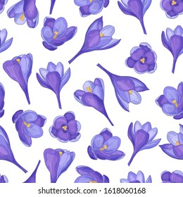 Vector seamless pattern with hand-drawn purple crocuses on a white background, for the design of covers, packaging, print on textiles, fabric