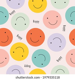 Vector seamless pattern with happy smileys colorful. Smiling emoticons. Hand drawn trendy Vector illustration for kids. Good for Fabric, textile, giftware, wallpaper, for book design and more