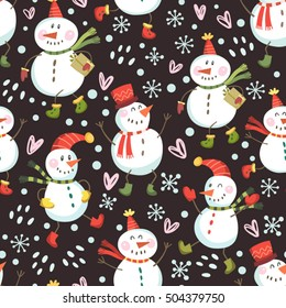 Vector seamless pattern of happy snowmen