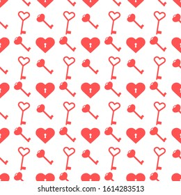 Vector seamless pattern Happy Valentine's Day Heart with keyhole, keys. Romantic background. Love, relationship, dating concept. Greeting card. Design for banner, poster or print.