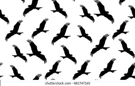 Vector seamless pattern of hawks