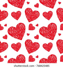 Vector seamless pattern with hearts. Hand drawn hearts. Wedding decoration. Valentine day background.