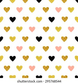 Vector seamless pattern with hearts of rose gold and black. Gold hearts, sparkles, shining hearts. Paddle, children's background.