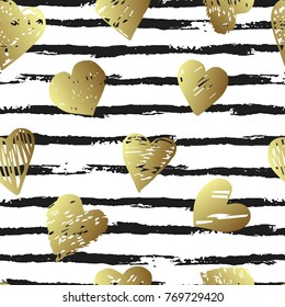 Vector seamless pattern with hearts shape and gorizontal brush stroke in a modern style. Happy Valentines day illustration. For wallpaper, pattern fills, web page, textures, textile, wrapping paper