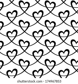 Vector seamless pattern with hearts of wavy lines. Decorative background Valentine's Day, wedding, Christmas. Ornamental illustration for print, web