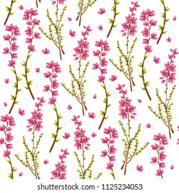 Vector seamless pattern with heather or Calluna Vulgaris on white background. Perfect for textile, covers, wallpapers and other design works
