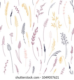 Vector seamless pattern of herbs, plants, flowers and leaves, cereals, grass. Can be printed and used as wrapping paper, wallpaper, textile, fabric, etc.