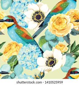 Vector seamless pattern with high detailed birds and roses