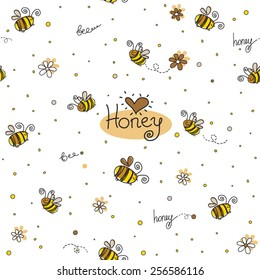 Vector seamless pattern with honey, hearts and bees in funny cartoon style
