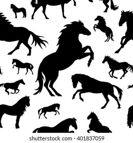 Vector seamless pattern with horses on white background. Element for design.
