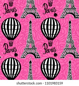 Vector Seamless Pattern Hot Air Balloon and Paris Eiffel Tower on pink rose background
