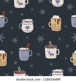 Vector seamless pattern with hot drinks in flat design. Hot chocolate, coffee, cocoa with whipped cream and marshmallow. Autumn and winter holidays