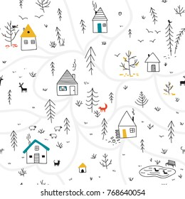 Vector seamless pattern with houses and wild forest life, deers, fox, rabbit, bird and wolf, lake with ducks. Can be printed and used as wrapping paper, wallpaper, textile, fabric, etc.