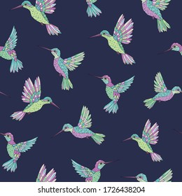 Vector seamless pattern with hummingbird. Decoration print for wrapping, wallpaper, fabric. Seamless vector texture.