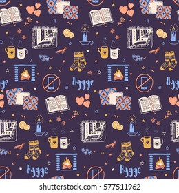 Vector seamless pattern with Hygge concept and cozy home things like candles, socks, oversize rug, tea, fireplace. Danish living concept. Greeting card template, hand drawn style.