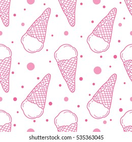 Vector seamless pattern with ice cream.  Hand drawn ice cream seamless pattern.