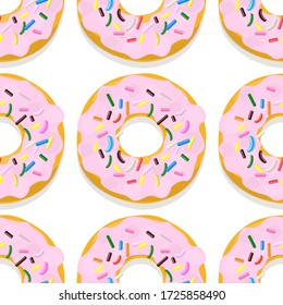 Vector  seamless pattern illustration of donuts in pink glaze  on a white background.