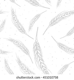 Vector seamless pattern illustration ears of wheat. Malt beer background. Autumn harvest.